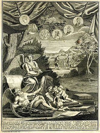 Paul de Rapin - Frontispiece to Volume I of original French Edition of de Rapin's Histoire d'Angleterre of 1724, designed and engraved by F.M. la Cave. The image shows Clio and Time, with the original inhabitants in the background scene. The medallions depict: 1. Claudius, 2. Honorius granting rights to the cities of Britain, 3. Saxon Heptarchs, 4. Canute, 5. Edward the Confessor, 6. William the Conqueror.