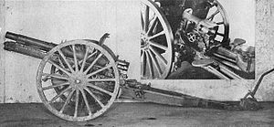 Type 38 75 mm field gun - Side view of the Improved Type 38 with an inset shot of the breech