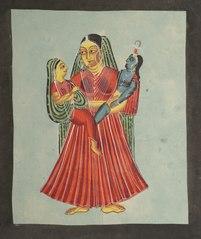 Yasoda Holding Krishna and Radha