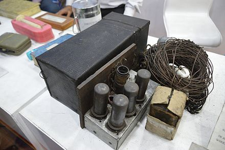 Radio transmitting set seized from INA agents in Calcutta, 1944. Four agents had been landed by submarine on the Indian coast, tasked with setting up a wireless post. Indian National Army Possessed Transmitter - 1944 CE - Kolkata 2017-02-05 5116.JPG