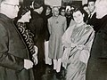 Indira Gandhi and Jawaharlal Nehru, with JAK Martyn, at The Doon School, 1959.jpg