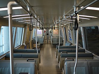 Bay Area Rapid Transit - Interior of a typical mainline BART car, here a C1 car