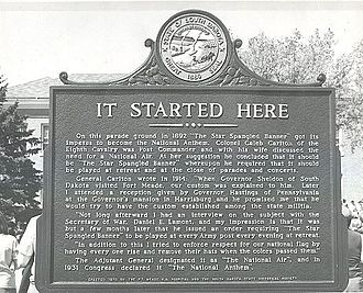 "Fort Meade (South Dakota) - This is the historic marker of the ""Star Spangled Banner"" officially being started at Ft. Meade, SD in 1892. This picture was taken by the staff of the Ft. Meade VA. Government uncensored photos, public usage."