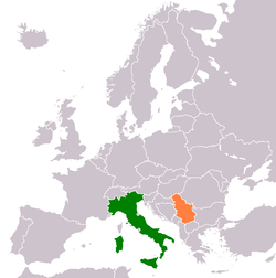 Map indicating locations of Italy and Serbia