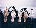 J.L. Sullivan with VAdm McCain - VAdm Fitch and Cpt Barner on USS Shangri-La (CV-38) in 1945.jpg