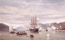 Jacob Eduard van Heemskerck van Beest - ZM Stoomschip 'Medusa' forceert de doorgang door de Straat van Simonoseki tussen Kioe-Sjioe en Hondo (Japan).jpg