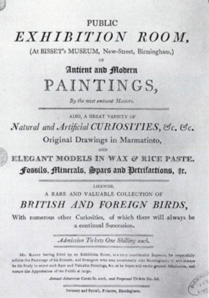 James Bisset - Advertisement for Bisset's Museum and Picture Gallery in New Street, Birmingham