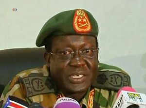 James Hoth Mai - General Hoth Mai fronting a news conference in Juba, January 2014