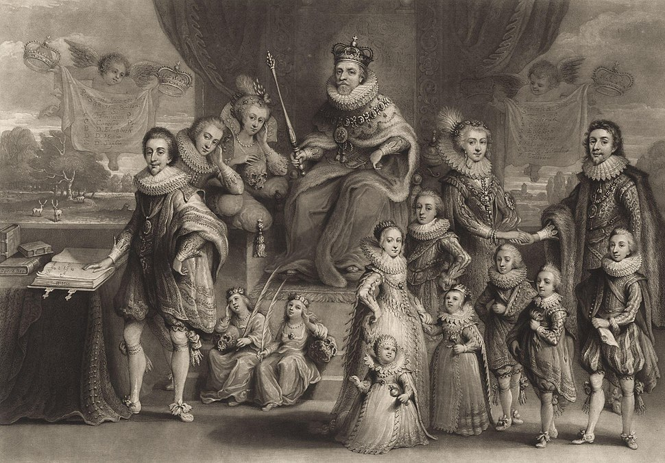 James I and his royal progeny by Willem van de Passe cropped