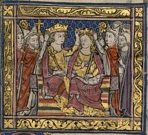 John of Brienne - Coronation of John and his first wife, Maria (from a 13th-century miniature)
