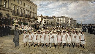 The procession of the schools in 1878
