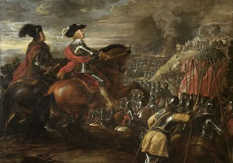 Battle of Nordlingen (1634). The Catholic Imperial army, bolstered by professional Habsburg Spanish troops won a great victory in the battle over the combined Protestant armies of Sweden and their German allies Jan van der Hoecke - The Battle of Nordlingen, 1634.jpg