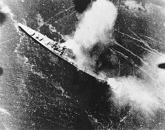 Bombing of Rabaul (November 1943) - Japanese cruiser Chikuma.