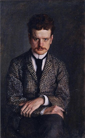 Portrait of Sibelius from 1892 by his brother-in-law Eero Jarnefelt Jean Sibelius by Eero Jarnefelt 1892.jpg