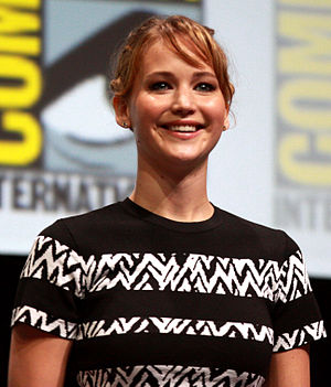 A photograph of Jennifer Lawrence smiling and looking forward to the camera