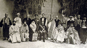 Herbert Samuel, 1st Viscount Samuel - Sir Herbert Samuel, seated centre, with Jerusalem church leaders and British officials, 1922.