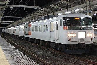 Moonlight Nagara - A 185 series EMU formation on a Moonlight Nagara service, December 2013