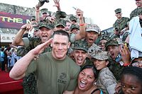 Cena, with actual Marines, at the premiere of his film The Marine.