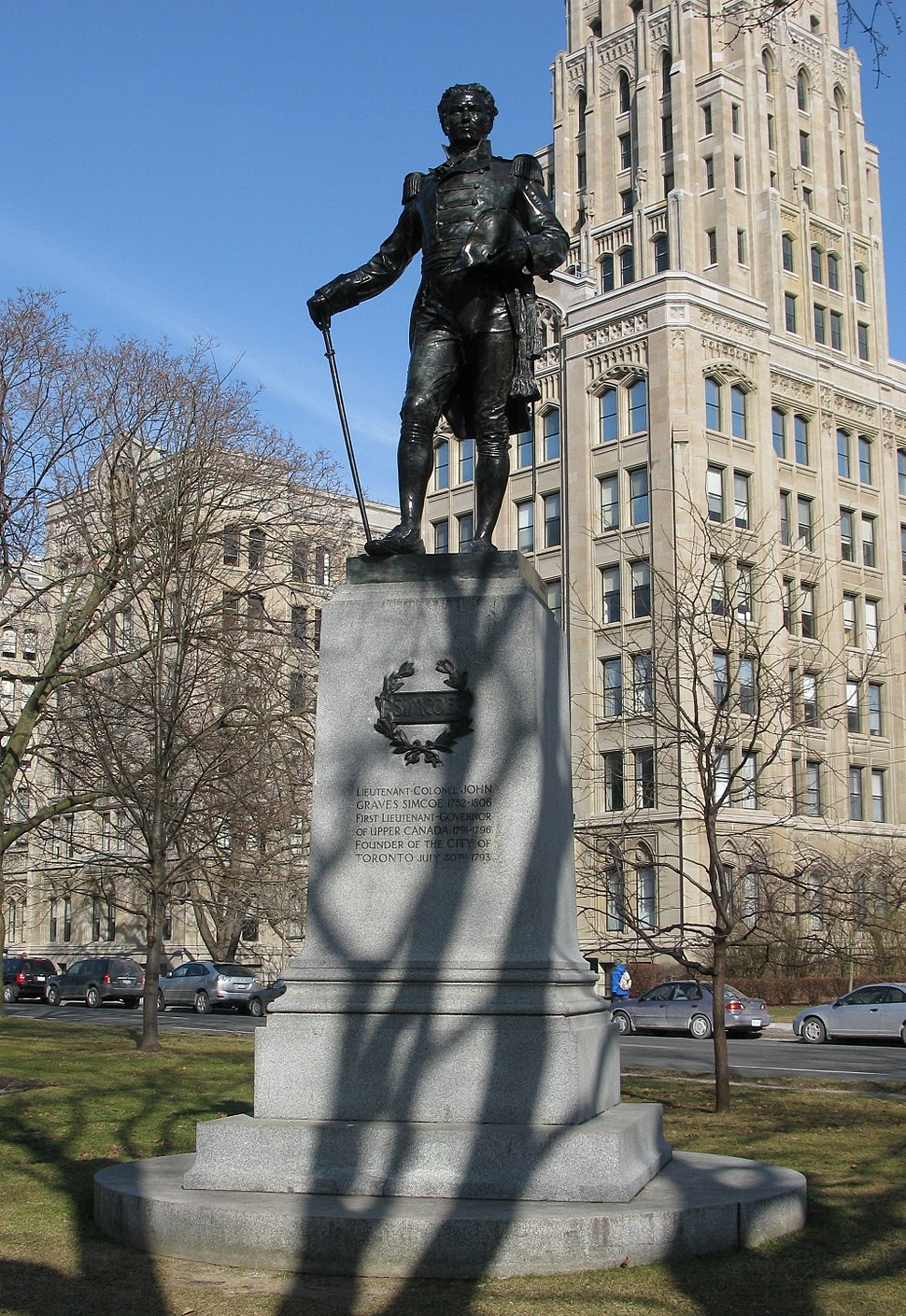 John Graves Simcoe statue at Queens Park