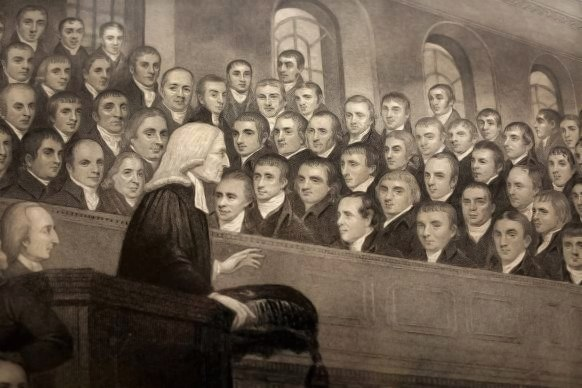 John Wesley preaching in the City Chapel. Engraving by T. Bl Wellcome V0006869 (Cropped)