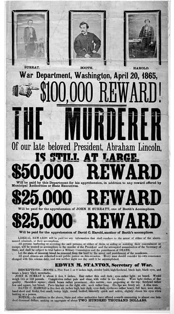 Broadside advertising reward for capture of Lincoln assassination conspirators, illustrated with photographic prints of John Surratt, John Wilkes Booth, and David Herold John Wilkes Booth wanted poster new.jpg