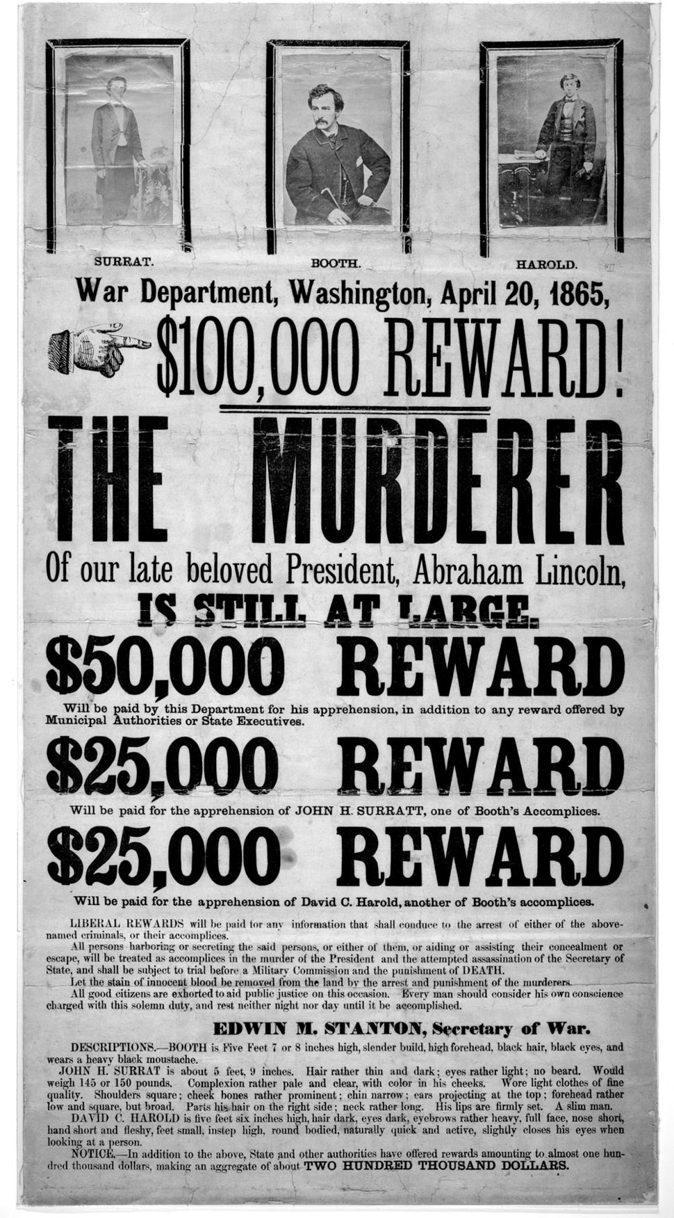 John Wilkes Booth wanted poster new