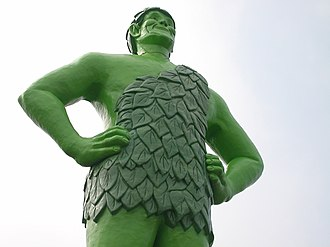 Le Sueur, Minnesota - Jolly green giant as it stands in nearby Blue Earth, Minnesota