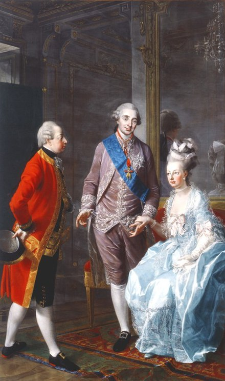 Archduke Maximilian Francis of Austria visits Marie Antoinette and Louis XVI on 7 February 1775 at the Chateau de la Muette (painting by the Austrian portraitist Josef Hauzinger) Josef Hauzinger 002.jpg