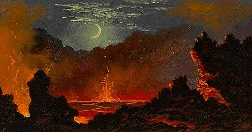 Jules Tavernier (attrib.) - Volcanic crater beneath a crescent moon