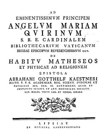 Abraham Gotthelf Kästner - De habitu matheseos et physicae ad religionem, 1752