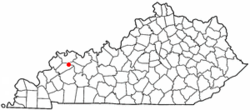 Location of Sebree, Kentucky