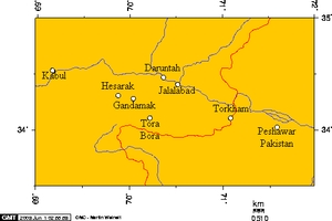 Tora Bora - Tora Bora's location in relation to Jalalabad and other cities in the provinces of Nangarhar, Kabul and Peshawar