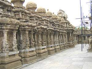 Pallava dynasty - Inner court or the circumambulatory passage with 58 subshrines. Kailasanathar Temple, Kanchipuram