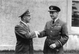 Josef Kammhuber - Meeting between Kammhuber and Air Marshal Sir Thomas Pike in 1956. Pike had previously served as an RAF night fighter pilot.