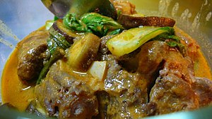 Beef oxtail in peanut sauce.