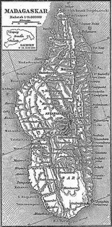 Mappa del Madagascar nel 1888