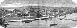 Früher war die Memel auch ein bedeutender Wasserweg - Panorama (der heutigen Altstadt) von Kaunas im 19. Jh