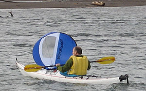 Small-craft sailing - Sailing a Kayak on the Columbia River -  Columbia Gorge, Oregon