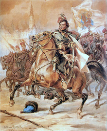 1883 painting by Juliusz Kossak depicting Pulaski on horse back