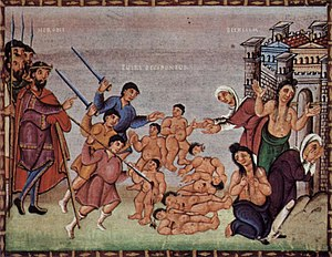 Nativity of Jesus in art - Massacre of the Innocents, Codex Egberti, late 10th century.