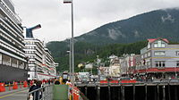 Ketchikan waterfront and cruise ships in port.JPG