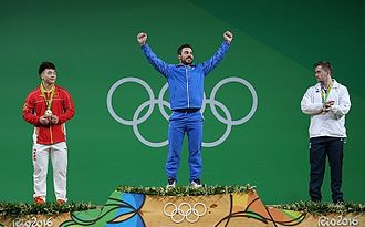 2016 Summer Olympics medal table - Medalists in the weightlifting men's 85 kg event. Iranian Kianoush Rostami won the competition