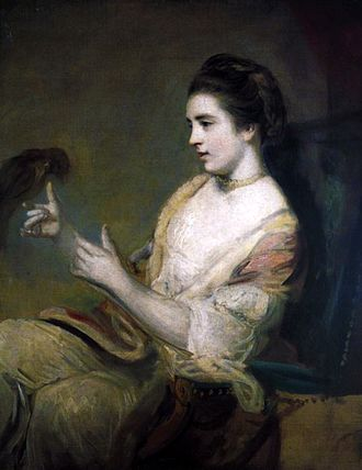 """Kitty Fisher - """"Kitty Fisher and parrot"""", by Joshua Reynolds (1763/4)"""