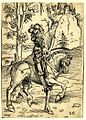 Knight on horseback riding to the right by Lucas Cranach the Elder.jpg