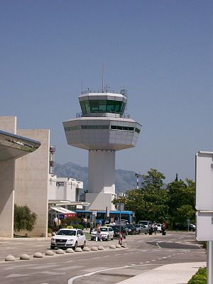 Dubrovnik Airport - The control tower at Dubrovnik Airport.