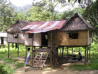 Orang Asli - A typical Orang Asli stilt house in Ulu Kinta, Perak.