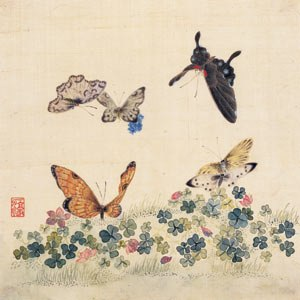 Leeum, Samsung Museum of Art -  A painting on display of flowers and butterflies drawn by a 19th-century Korean painter, Nam Gyewoo