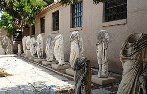 Headless statues in the Museum of ancient Corinth.