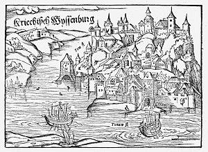 L'assedio di Belgrado (Kriechisch W (e) yssenburg), Cosmographia di Sebastian Münster del 1545