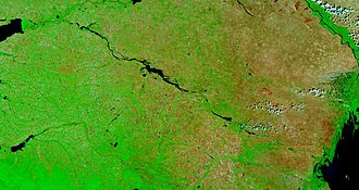Kuma–Manych Depression - Kuma-Manych Depression and Manych River from space. Upper left is the eastern tip of the Sea of Azov and lower right is the Caspian Sea. In the middle of the image is the Lake Manych-Gudilo. Upper right is the Volga and lower left is the Kuban River.